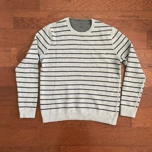 Reversible Grey Striped Crew Neck Sweater
